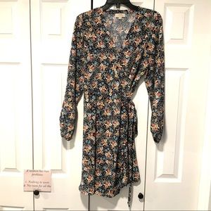 Loft Floral Long Sleeve Wrap Dress
